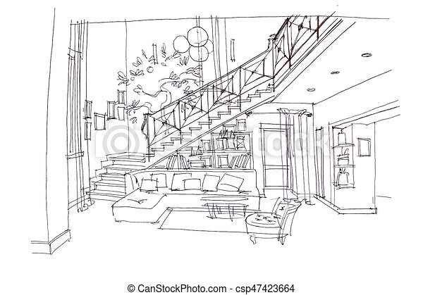 Hand Drawn Plan Of Modern Living Room Interior And Furniture Hand