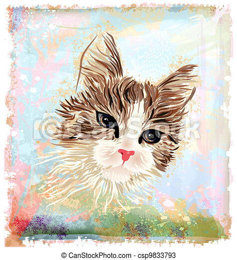 hand drawn portrait of the fluffy cat - csp9833793