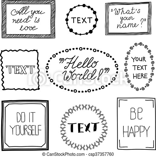 Hand drawn quote vintage vector frames. doodle frame boxes, speech ...
