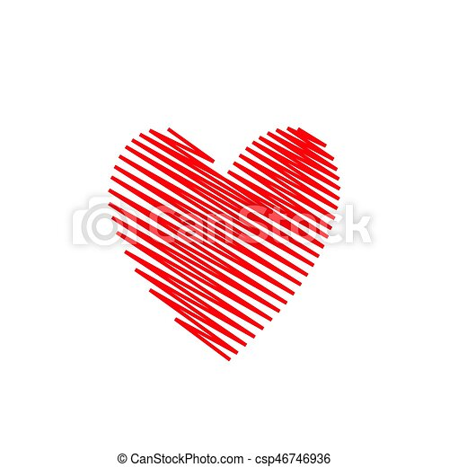Abstract Hand Drawn Red Heart Valentine Day Concept Love Symbol
