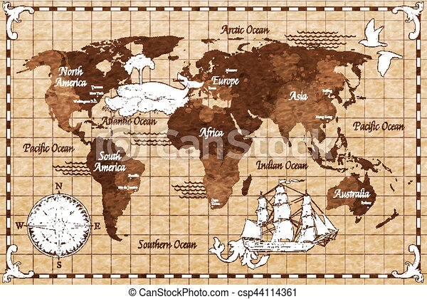 Hand Drawn Retro Map Hand Drawn Sketch Retro World Map With