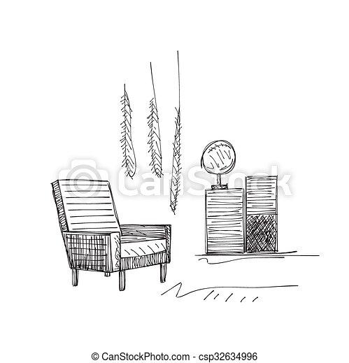 Hand drawn room interior sketch - csp32634996