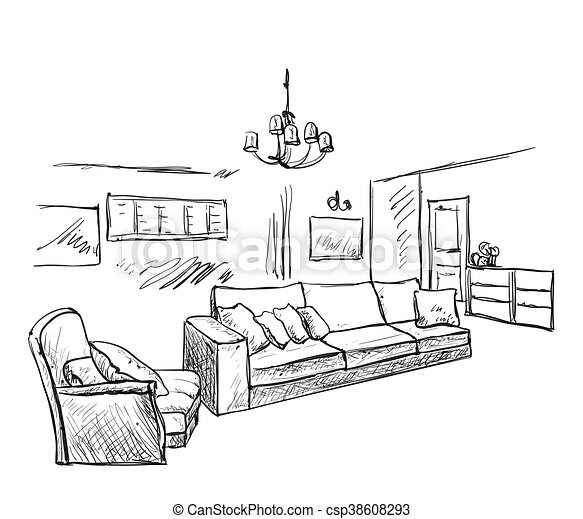 Hand drawn room interior sketch - csp38608293