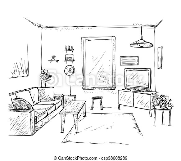 Hand drawn room interior sketch - csp38608289