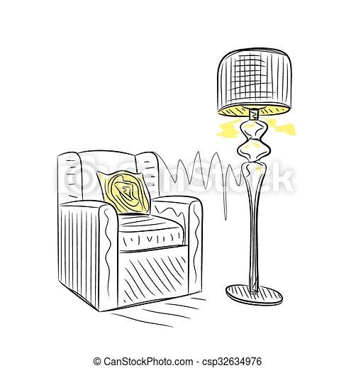 Hand drawn room interior sketch - csp32634976