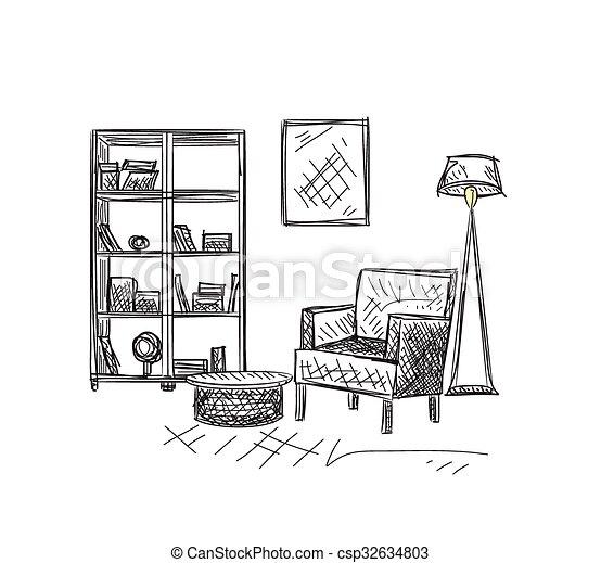 Hand drawn room interior sketch - csp32634803