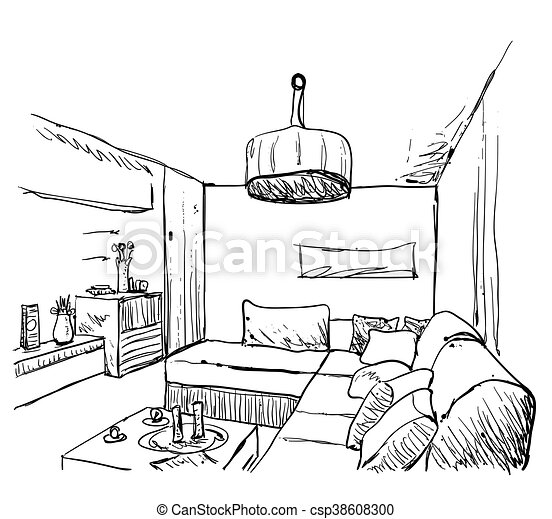 Hand drawn room interior sketch - csp38608300