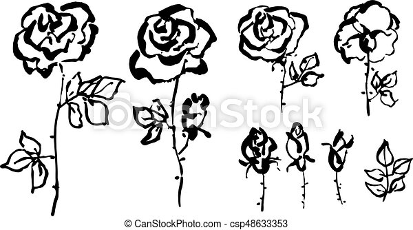 Hand drawn rose floral sketch in modern shabby style clipart