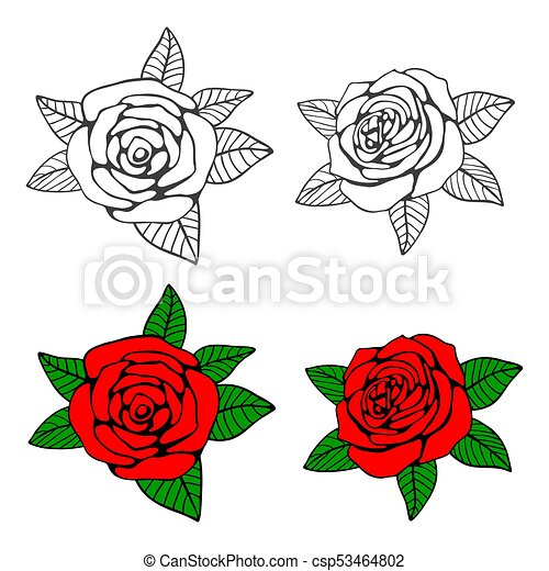 Hand Drawn Roses Coloring Page With Bright Samples Vector Illustration