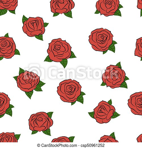 Hand Drawn Roses Seamless Pattern Vector Illustration