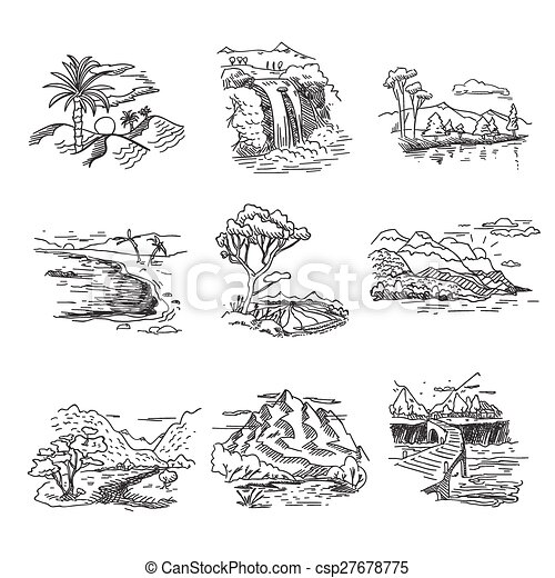 Hand drawn rough draft doodle sketch nature landscape illustration with sun hills sea forest waterfall - csp27678775