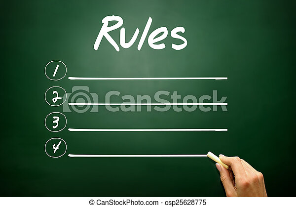 Hand drawn RULES blank list concept on blackboard   - csp25628775