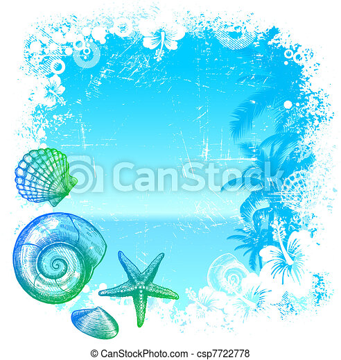 Hand drawn sea inhabitants on a tropical background - vector illustration - csp7722778