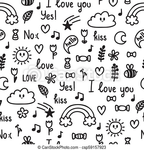 Hand drawn seamless pattern on love theme  Doodle, sketch  Design for  valentine and wedding  Cute background