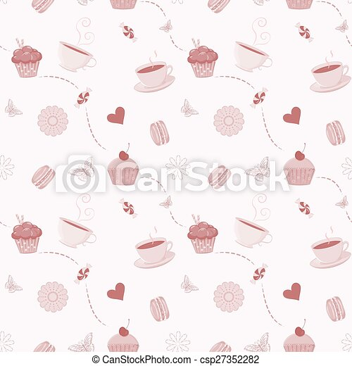 Hand drawn seamless pattern with cupcakes, macaroons and teacups - csp27352282