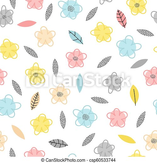 Hand Drawn Seamless Pattern With Flowers And Leaves Cute Floral