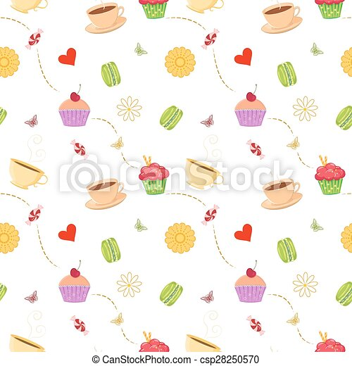 Hand drawn seamless pattern with cupcakes, macaroons and teacups - csp28250570