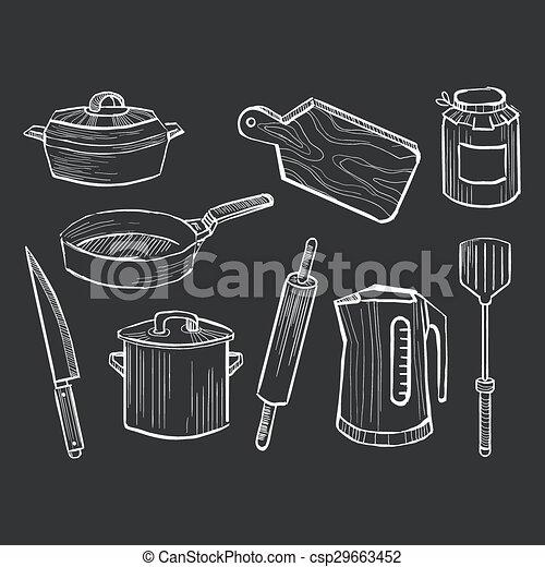 Hand drawn set of kitchen utensils on a chalkboard - csp29663452