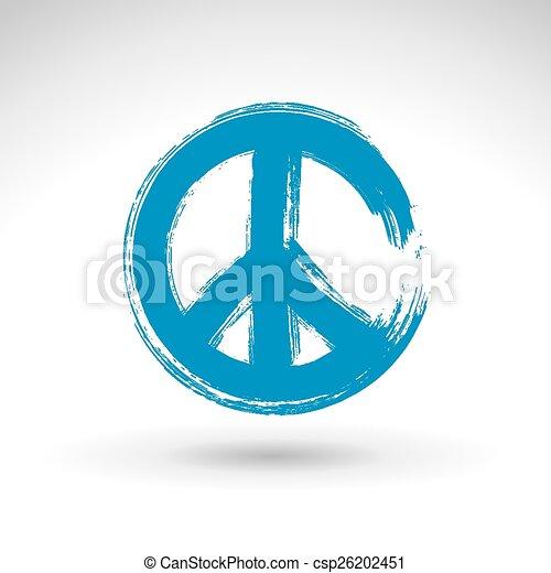 Hand drawn simple vector peace icon - csp26202451