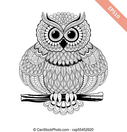Hand drawn sitting ornate doodle owl. design for coloring ...