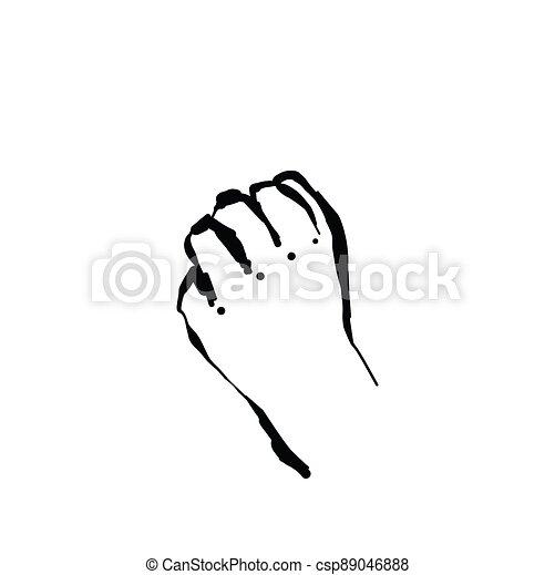 Hand drawn sketch fist vector illustration. Willpower - csp89046888
