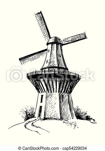 Hand Drawn Sketch Mill Vector illustration - csp54229034