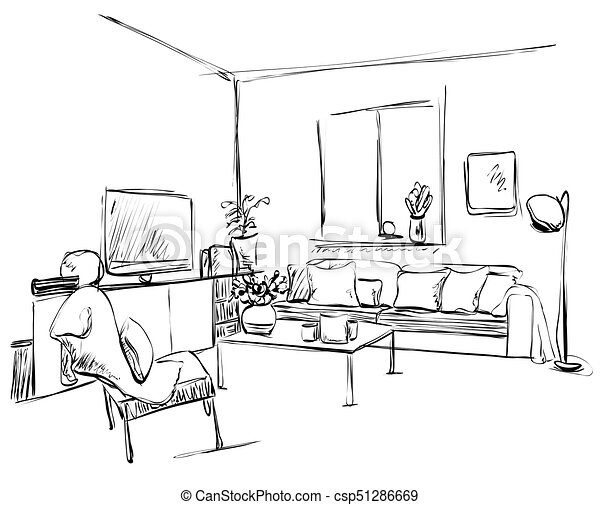 Hand Drawn Sketch Of Modern Living Room Interior With A Sofa Pillows Table