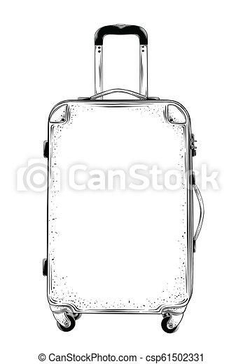 Hand drawn sketch of suitcase in black isolated on white background.  Detailed vintage style drawing. Vector illustration