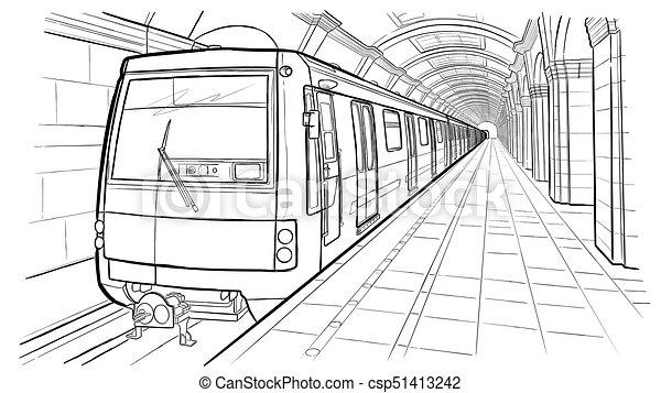 Hand Drawn Sketch Saint Petersburg Subway Station Hand
