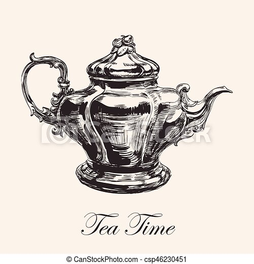 Hand Drawn Sketch Teapot Vector illustration - csp46230451