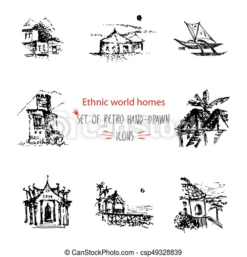 Hand Drawn Sketch Travel And Vacation Icon Collection Different Ethnic Houses Of World Black On Vector