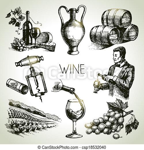 Hand drawn sketch vector wine set  - csp18532040