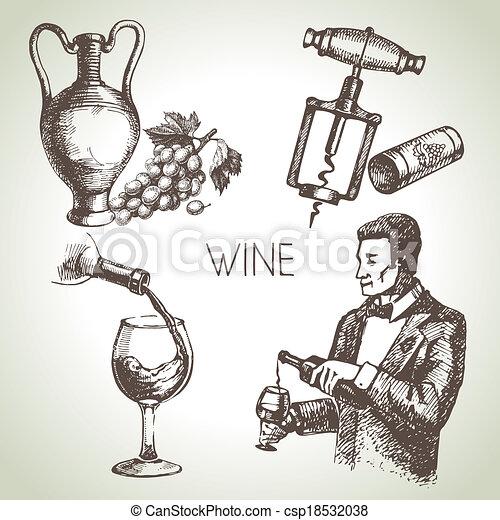 Hand drawn sketch vector wine set  - csp18532038