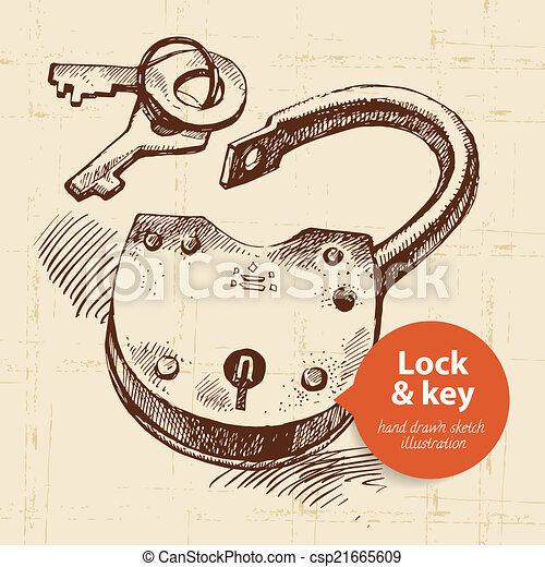 Hand drawn sketch vintage lock and key banner.  - csp21665609