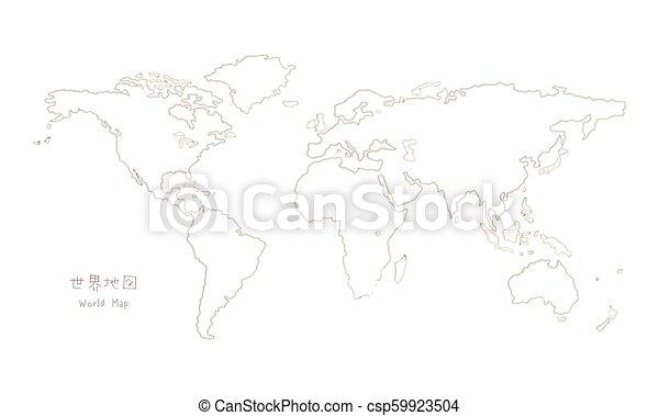 Hand Drawn Sketch World Map Mercator Projection Translation Of