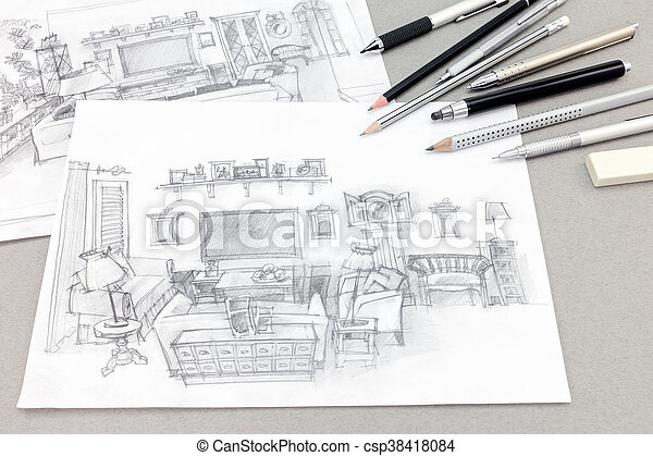 Hand Drawn Sketches Of Home Interior With Drawing Tools On Gray