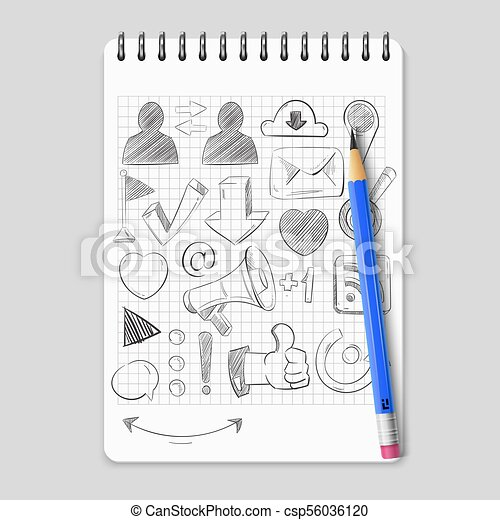 Hand drawn social media network icons on realistic notebook - csp56036120