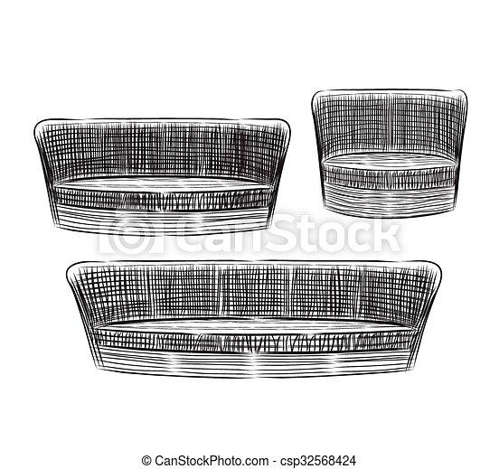 Hand drawn sofas, vector illustration. - csp32568424