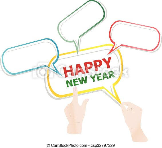 Hand drawn speech bubbles on happy new year background. vector ...