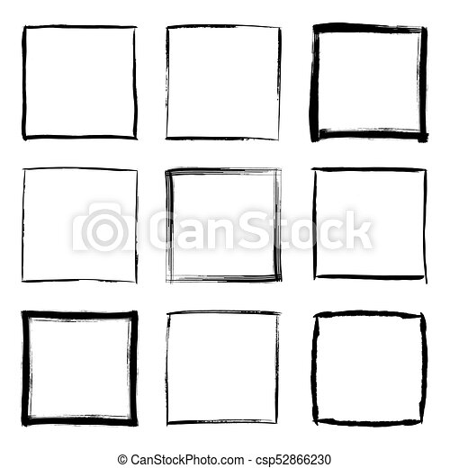 Hand drawn square frames set. Collection of square black hand drawn ...