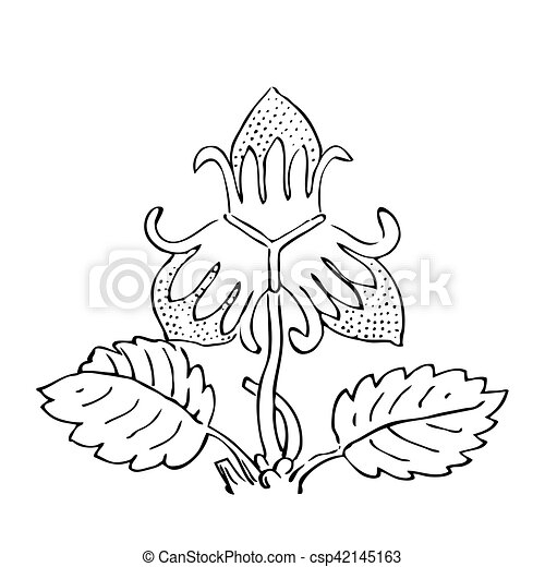 Hand drawn strawberry bush with berries, contour vector illustra - csp42145163