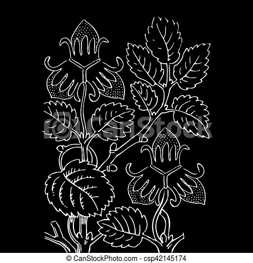 Hand drawn strawberry bush with berries, contour vector illustra - csp42145174