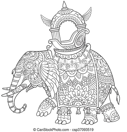 Hand Drawn Stylized Elephant