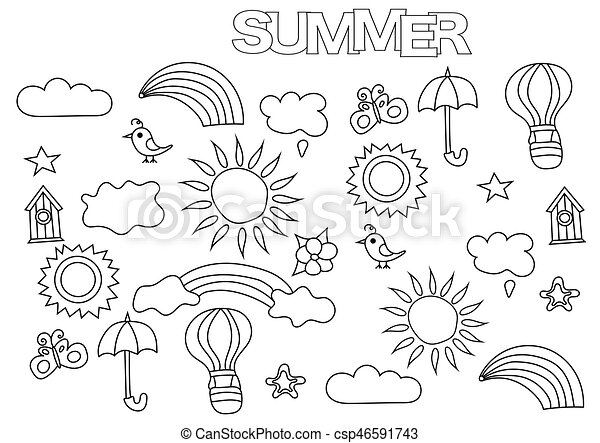 Hand Drawn Summer Weather Set Coloring Book Page Template Outline Doodle Vector Illustration