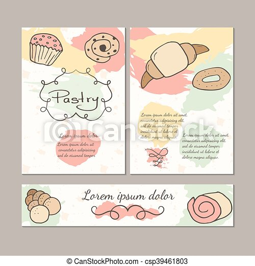 Hand drawn sweet pastry colorful template set. - csp39461803