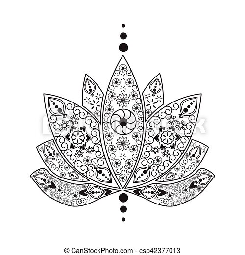 Hand drawn tattoo element henna indian lotus vector hand drawn hand drawn tattoo element henna indian lotus csp42377013 mightylinksfo