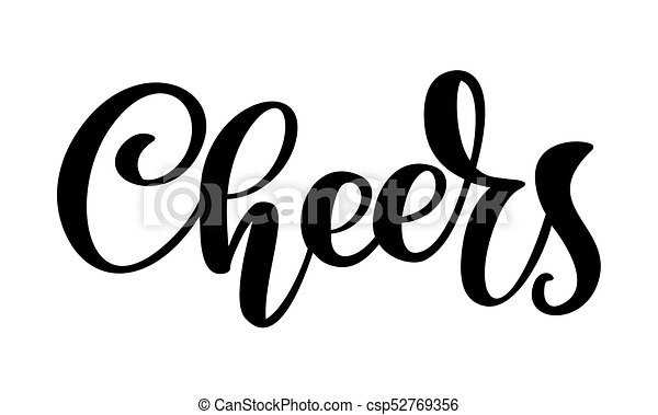 hand drawn text cheers lettering banner greeting card design