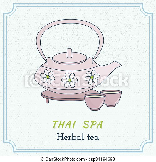 Hand drawn Thai massage and spa design elements. - csp31194693