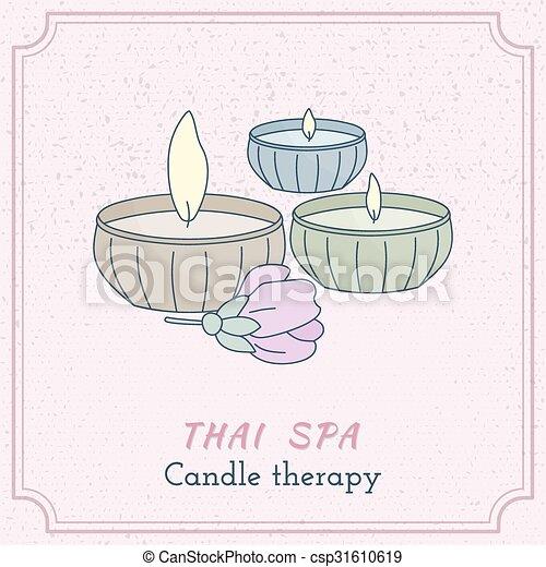 Hand drawn Thai massage and spa design elements. - csp31610619
