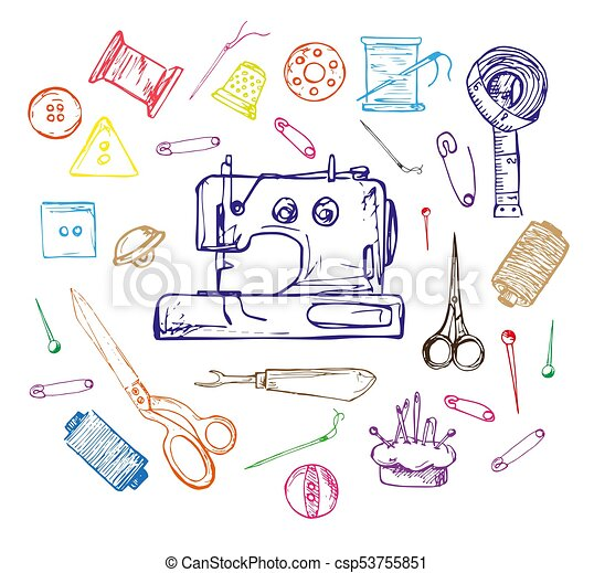 Hand drawn thread, needle, scissors, ball of yarn, knitting needles, crochet. Vector illustration in a sketch style. - csp53755851